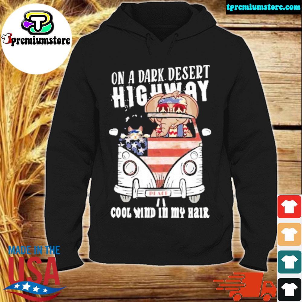On a dark desert highway cool wind in my hair ugly Christmas sweater hodie-black